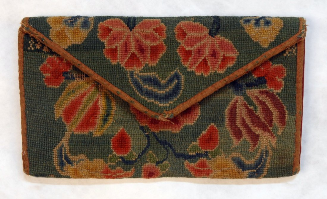 477: PETIT POINT WALLET, 18th - EARLY 19th C.