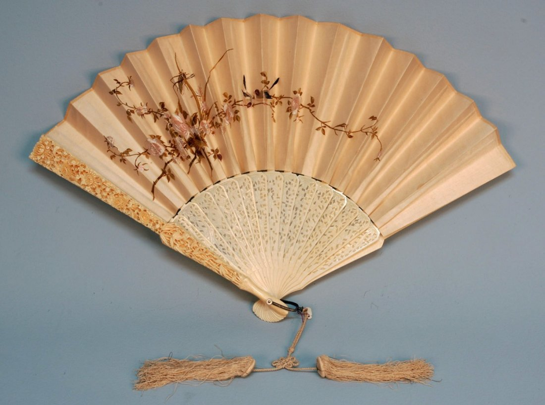 497: CHINESE CARVED IVORY and EMBROIDERED SILK FAN, 19t