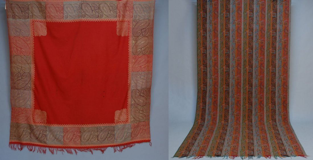 TWO PAISLEY SHAWLS, 19th and 20th C.