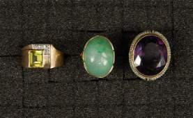 THREE 14K YELLOW GOLD RINGS with STONES 20th C
