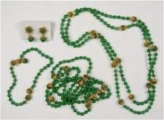 MIRIAM HASKELL GREEN GLASS PARURE
