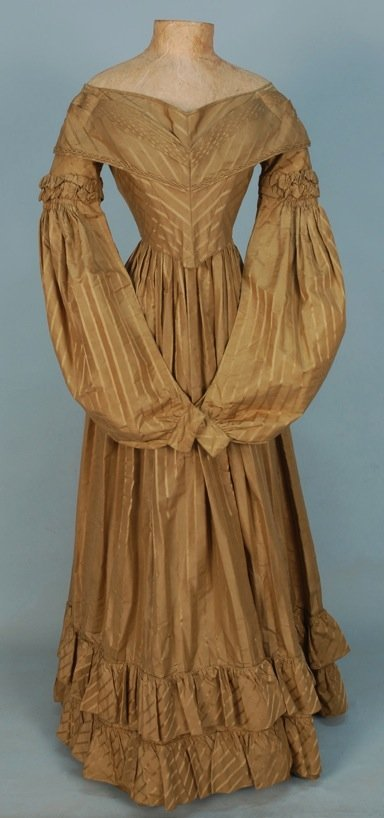 SILK GOWN with WOVEN STRIPE, c. 1836.