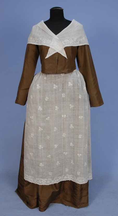 WHITEWORK APRON and FICHU, 18th - EARLY 19TH C.
