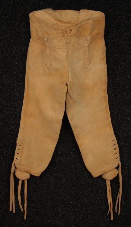 YOUNG MANS' FALL FRONT HIDE BREECHES, 1760 - 1815.