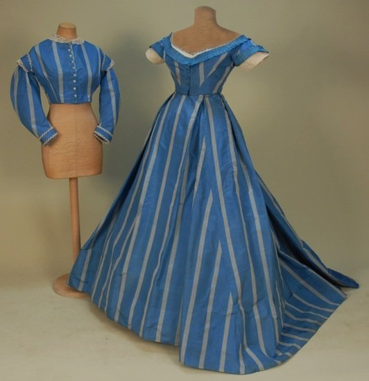 SILK TAFFETA GOWN with TWO BODICES, 1860's.