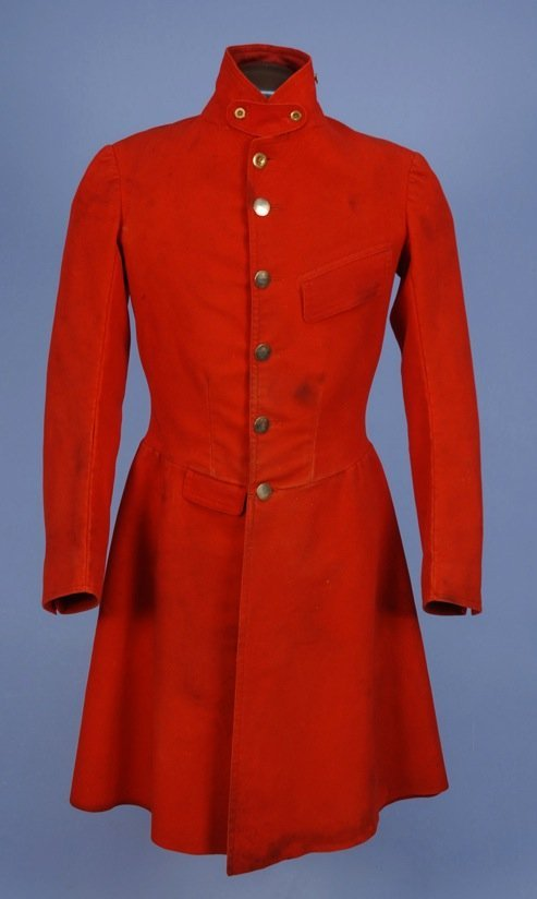 GENT'S RED WOOL FROCK COAT, MID 19th C.
