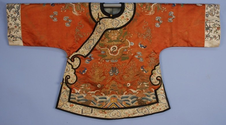 CHINESE SILK EMBROIDERED SHORT ROBE, 19th C.