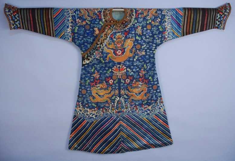 CHINESE SILK EMBROIDERED NINE DRAGON ROBE, EARLY 20th