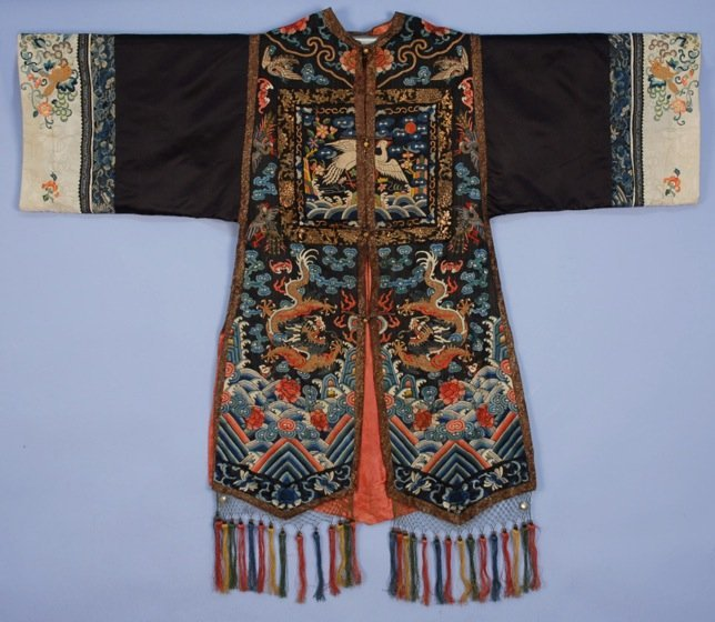 CHINESE SILK EMBROIDERED SURCOAT with RANK BADGES,