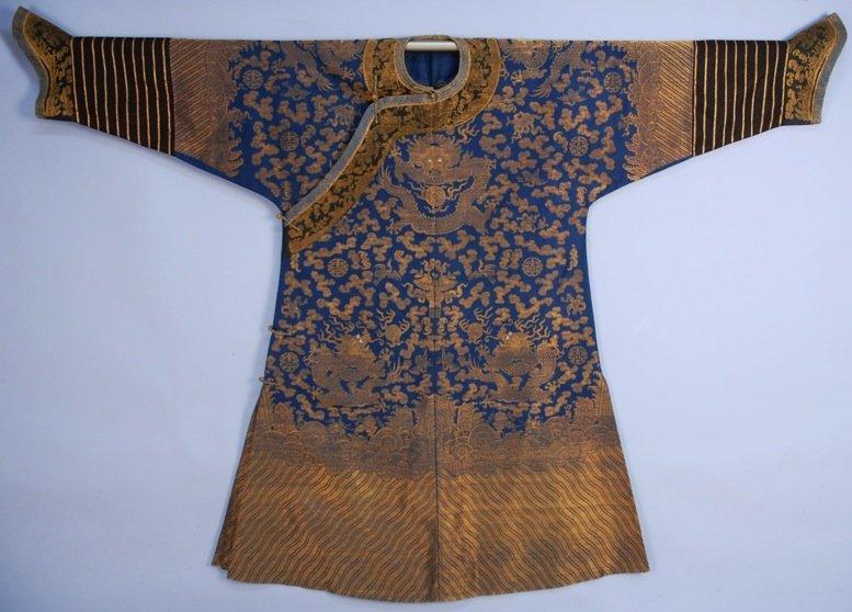 CHINESE SILK and GOLD METALLIC BROCADE DRAGON ROBE,