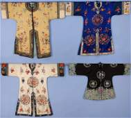 FOUR CHINESE SILK EMBROIDERED INFORMAL ROBES 20th C