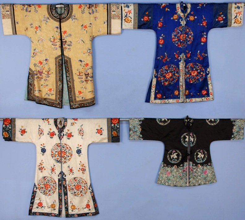 FOUR CHINESE SILK EMBROIDERED INFORMAL ROBES, 20th C.