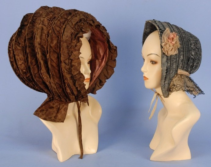 SILK CALASH and DRAWN BONNETS, 18th  and 19th C.