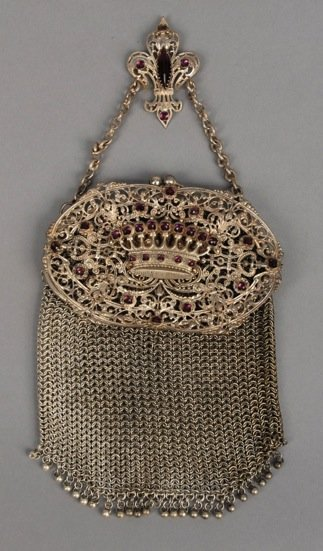 MESH PURSE with AMETHYSTS and CHATELAINE, 1890's.