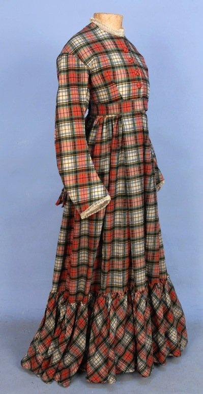 WOOL PLAID DAY DRESS, c. 1869.