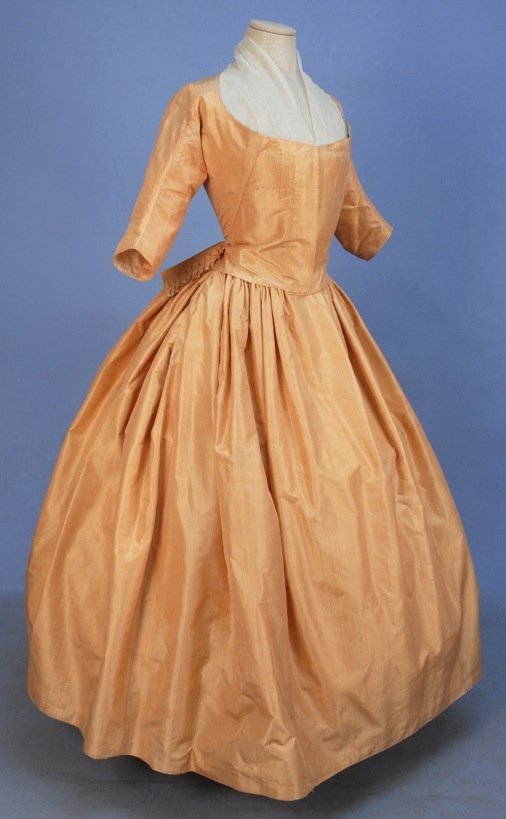 STRIPED SATIN GOWN, 1770's.