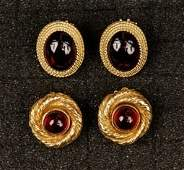 TWO PAIR 14K GOLD EARRINGS 20th C