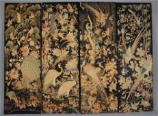 FOUR CHINESE EMBROIDERED PANELS 19th C