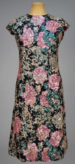 MICHAEL NOVARESE SEQUINNED COCKTAIL DRESS, c. 1958.