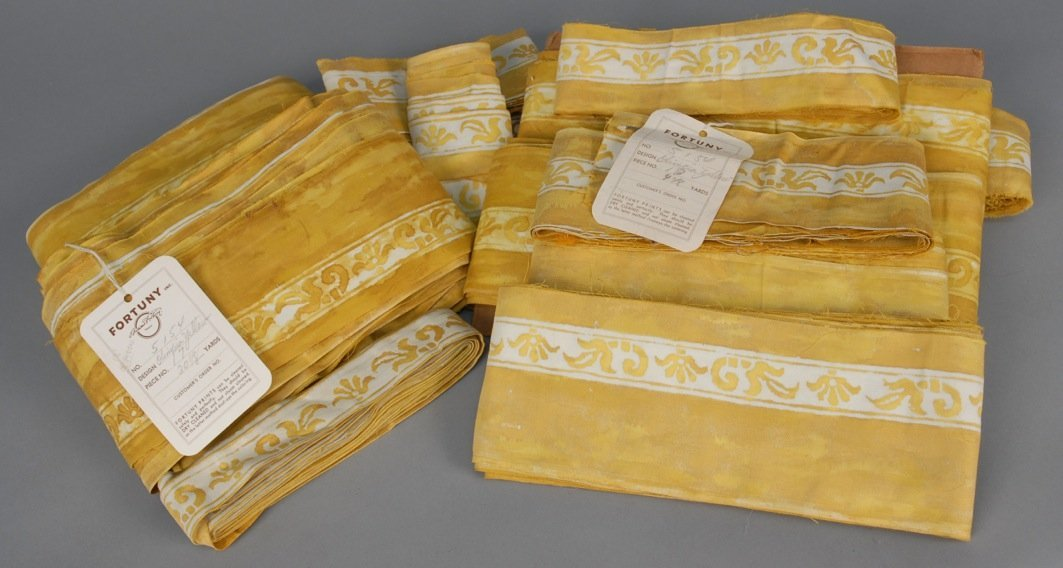 LARGE LOT of FORTUNY OLIMPIA YELLOW BORDER FABRIC,