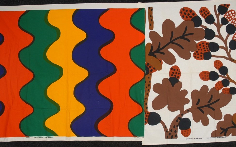 TWO MARIMEKKO PRINTED FABRIC SAMPLES, 1961 and 1975.