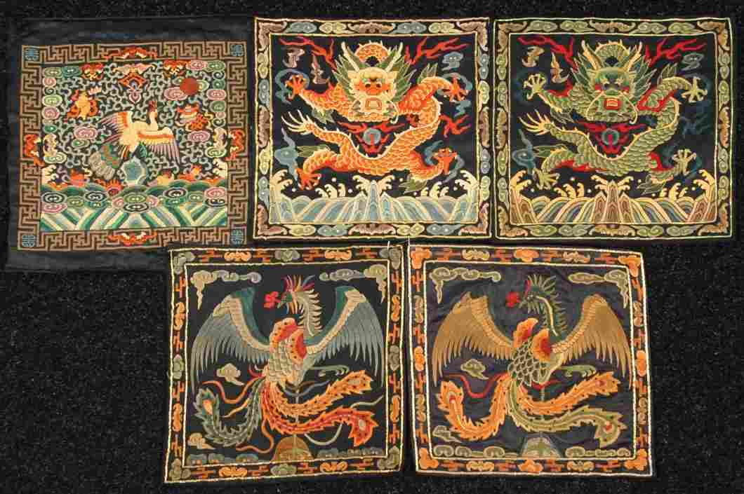 FIVE CHINESE RANK BADGES,  20th C.