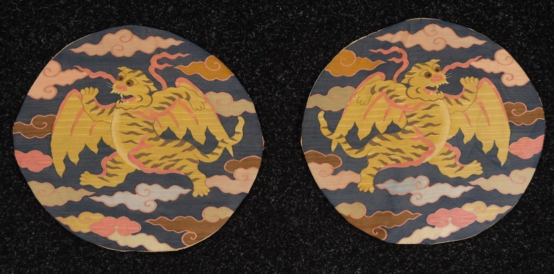 PAIR of CHINESE SILK KESI ROUNDELS, 20th C