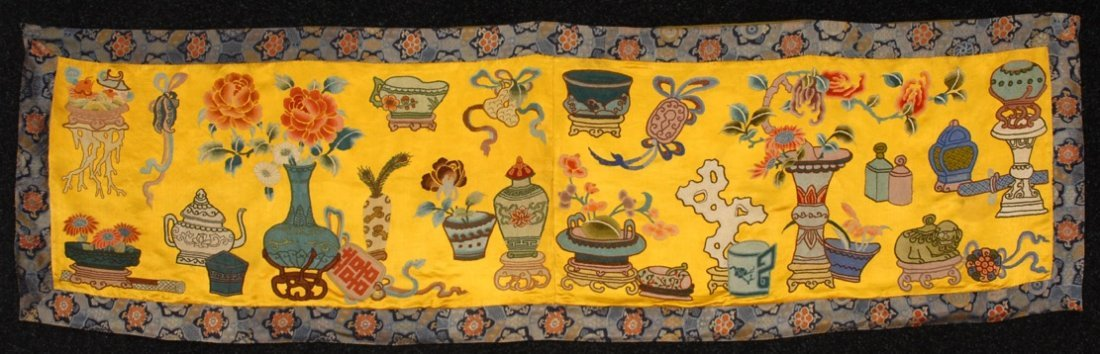 CHINESE EMBROIDERED PANEL, 20th C.