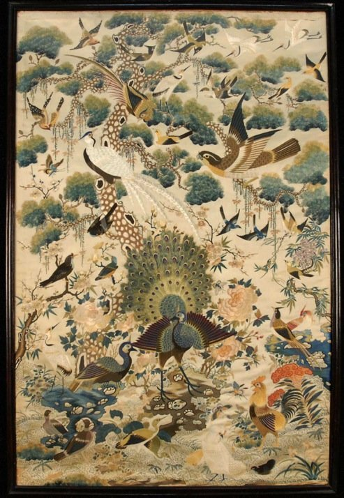 FRAMED CHINESE SILK EMBROIDERY, 19th C.