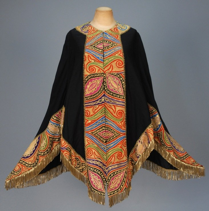 FARMER & ROGERS WOOL CAPE with METALLIC EMBROIDERY, c.