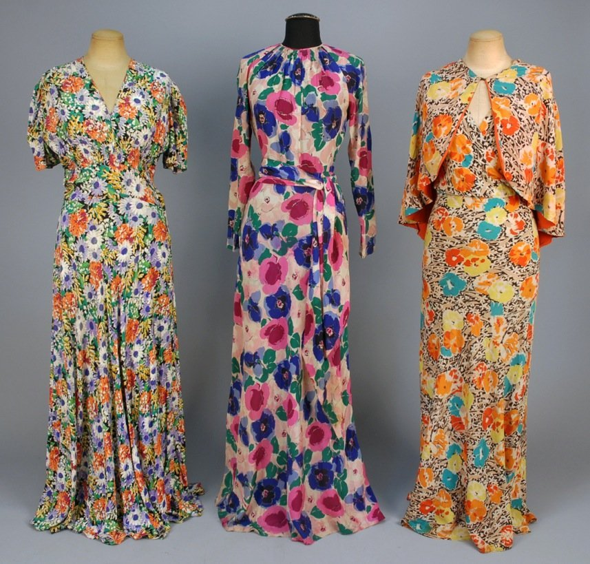 THREE FLORAL PRINTED CREPE DRESSES, 1930s.