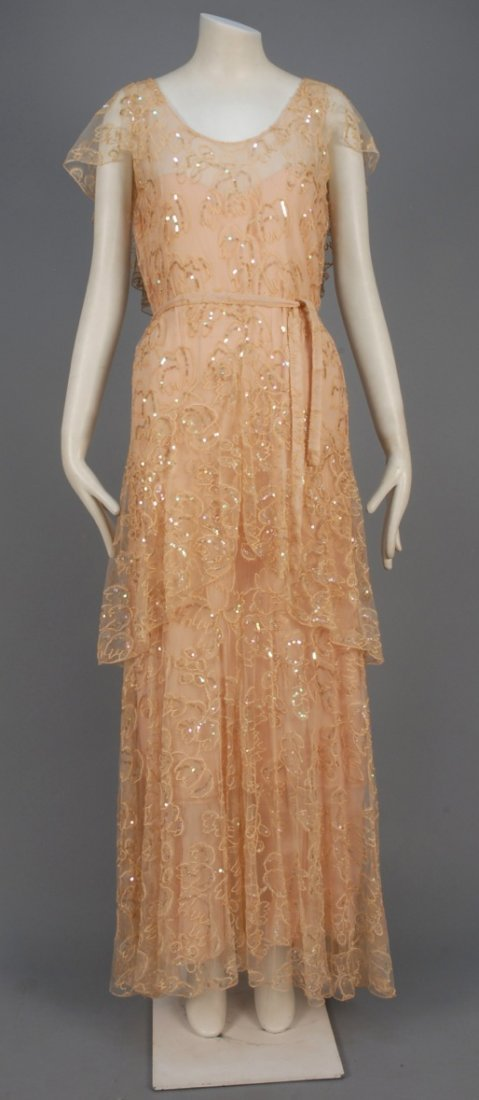 SUMMER GOWN with EMBROIDERY and SEQUINS, 1930s.