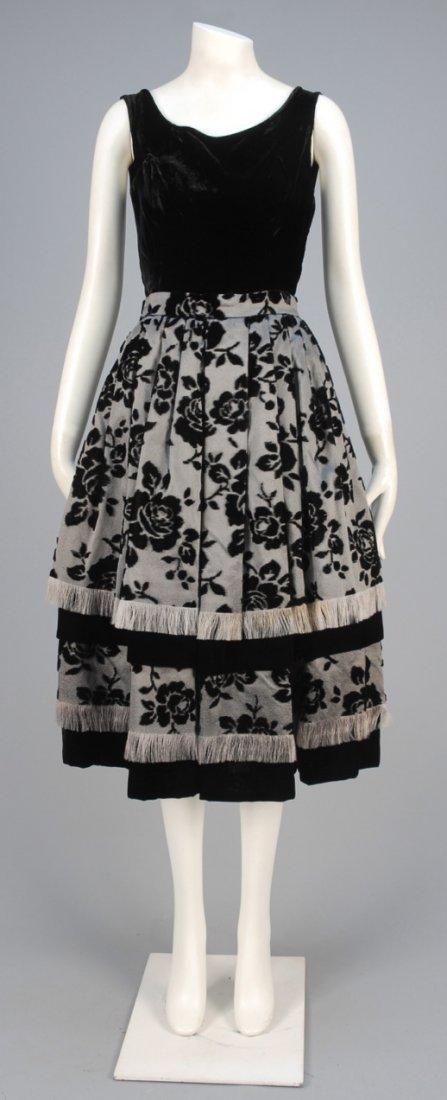VOIDED VELVET PARTY DRESS, 1950s.