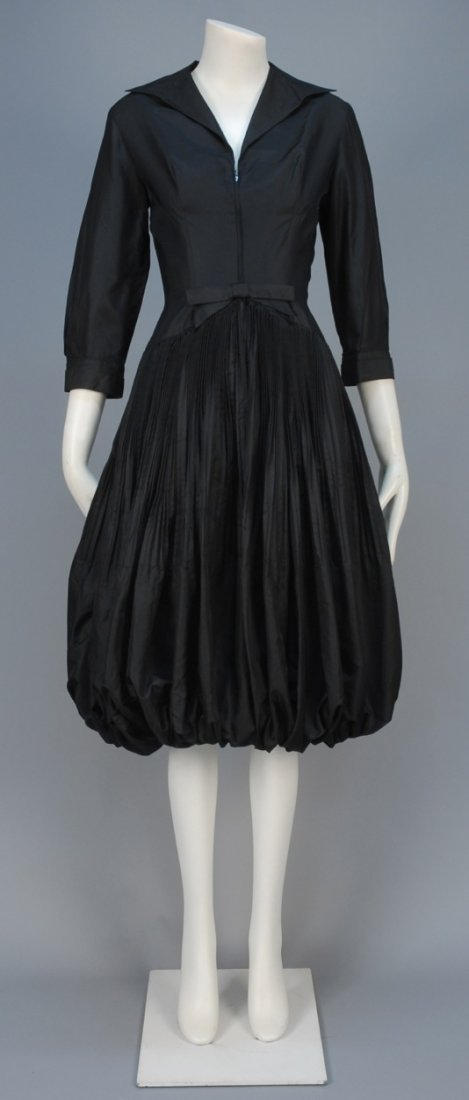 SEYMOUR JACOBSON SILK COCKTAIL DRESS with BUBBLE SKIRT,