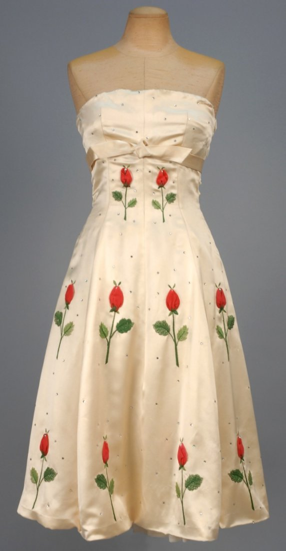FRENCH STRAPLESS SATIN PARTY DRESS with ROSE APPLIQUE,
