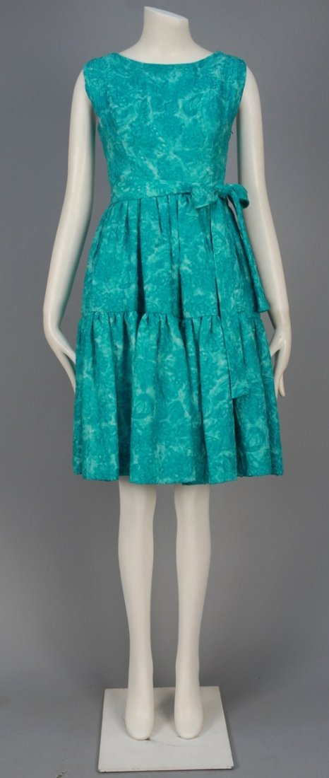 BALENCIAGA COUTURE PRINTED SILK DAY DRESS with MATCHING
