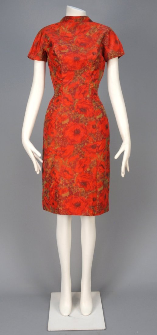 SUZY PERETTE WARP PRINTED COCKTAIL DRESS, 1950s.