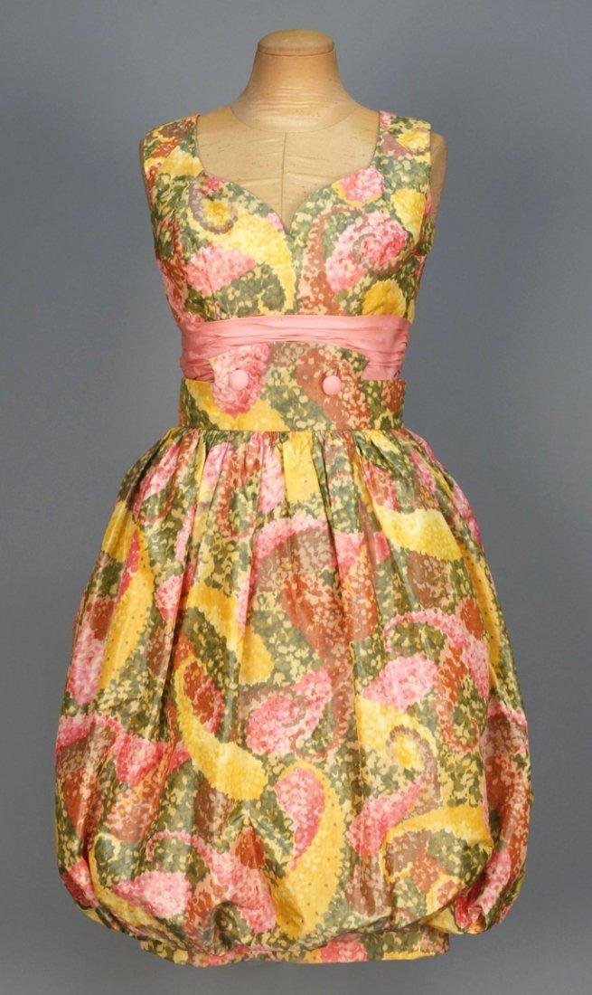 OLEG CASSINI PRINTED SILK COCKTAIL DRESS, 1950s.