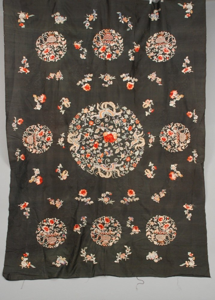 CHINESE SILK EMBROIDERED PANEL, EARLY 20th C. Black