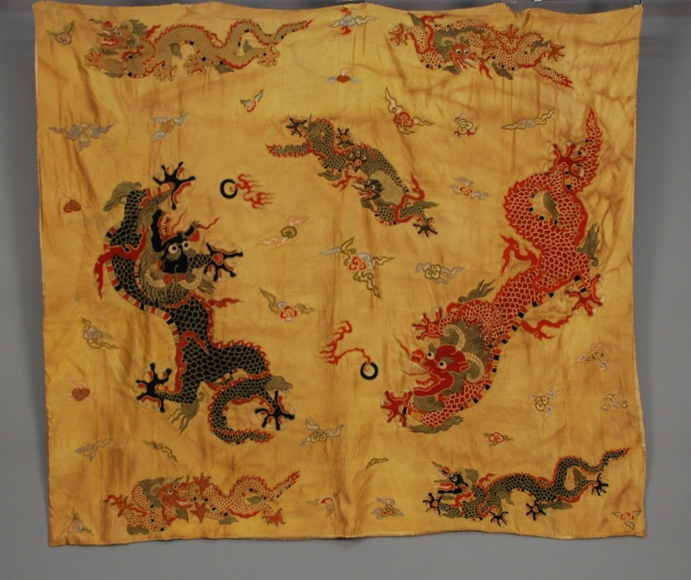 CHINESE SILK EMBROIDERED DRAGON PANEL, EARLY 20th C.