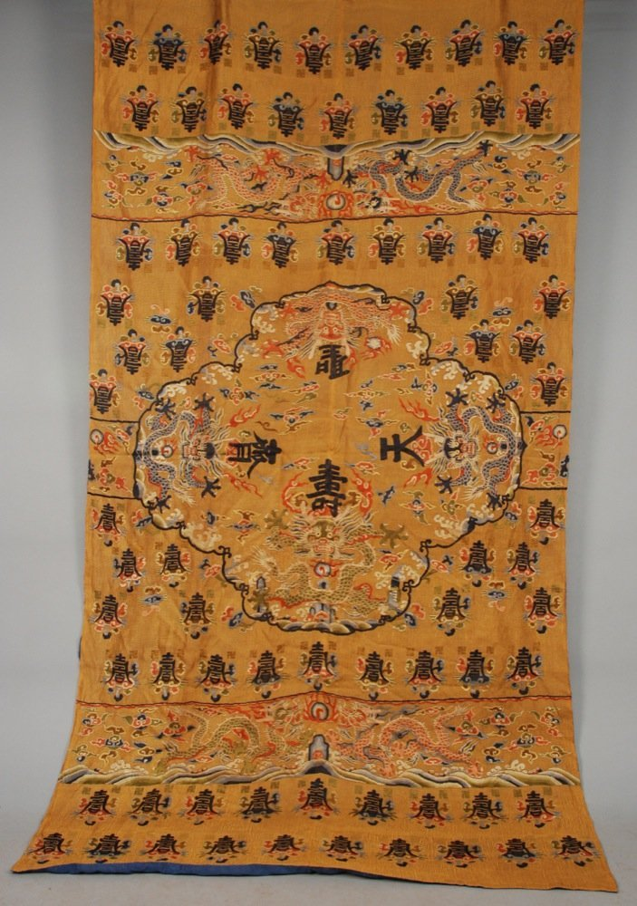 CHINESE PANEL, 20th C Large gold panel embroidered with