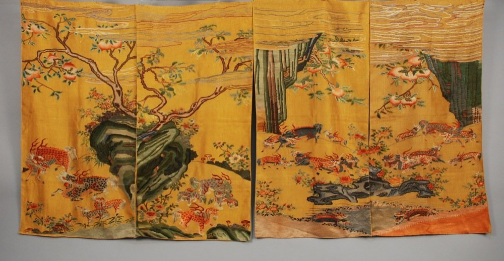 FOUR CHINESE SILK PANELS, EARLY 20th C. Each having