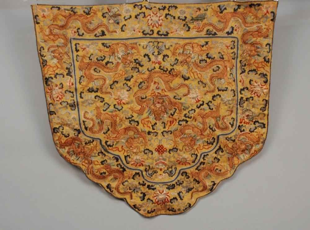 CHINESE SILK and METALLIC CHAIR BACK, EARLY 20th C.