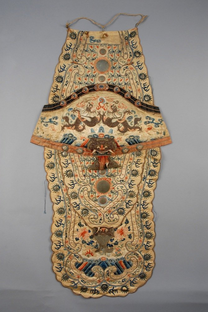 CHINESE SILK OPERA WARRIOR COSTUME PANEL, LATE 19th C.