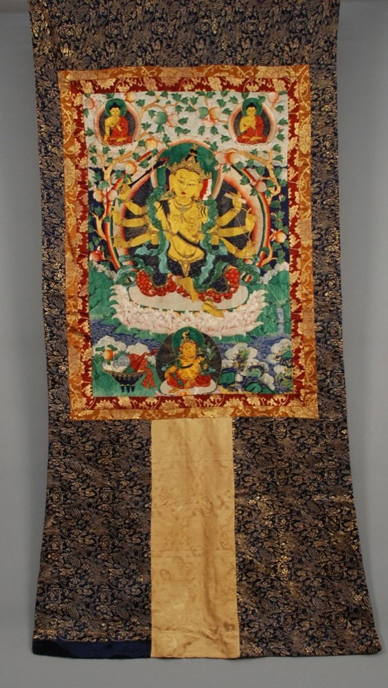 SILK EMBROIDERED THANGKA, EARLY 20th C. Embroidery on