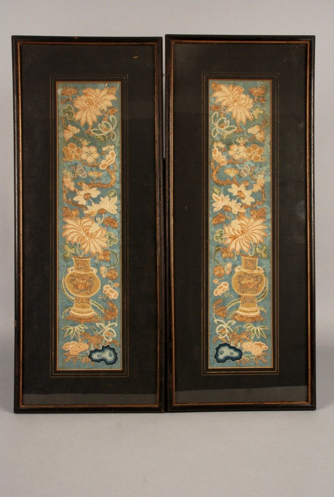 TWO FRAMED CHINESE EMBROIDERIES, 19th C. Silk seed