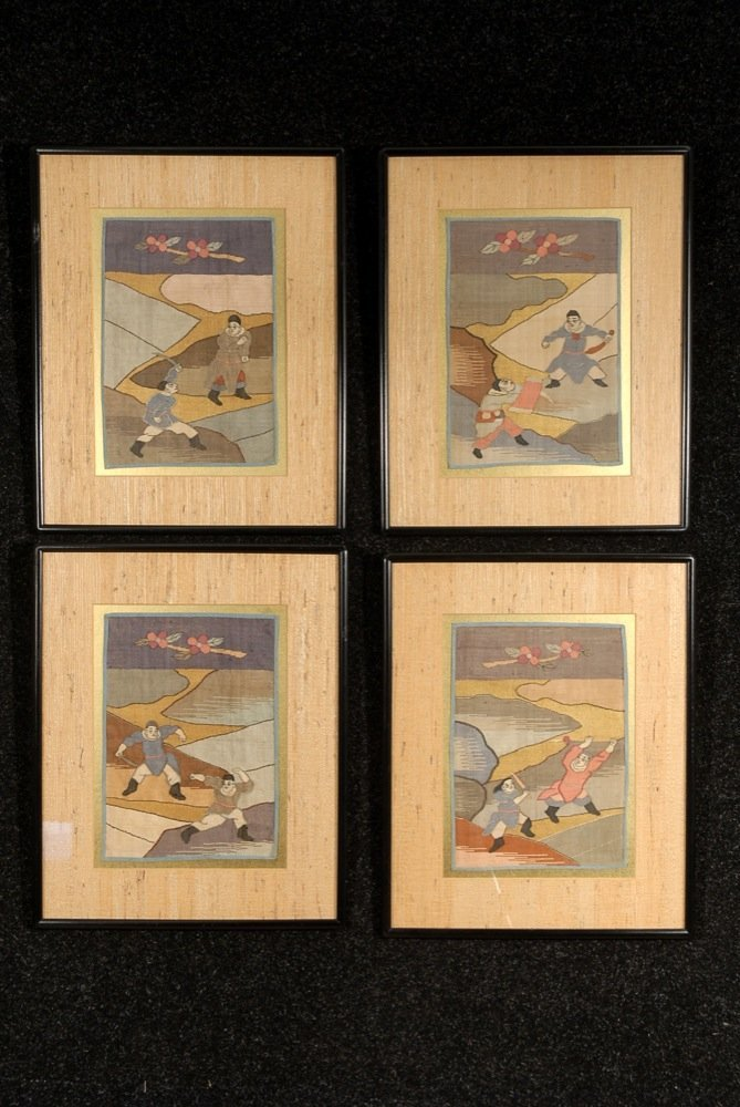 FOUR FRAMED KESI EMBROIDERIES, 20th C. Identically