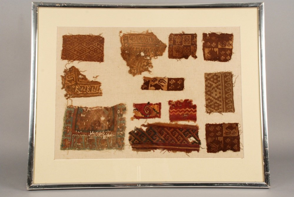 FRAMED PERUVIAN TEXTILE FRAGMENTS. Twelve samples,