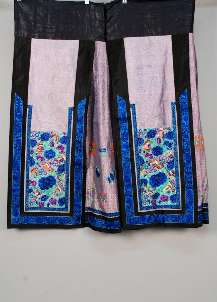 CHINESE SILK EMBROIDERED SKIRT and HARDSTONE BELT,