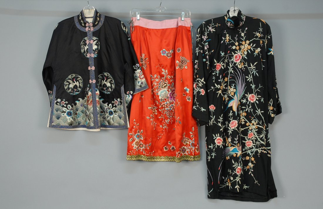 THREE CHINESE EXPORT EMBROIDERED SILK GARMENTS, 20th C.